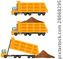 Dump trucks in three positions 28668295