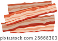 Four slices of bacon on white background 28668303