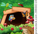 Different types of insects in front of tunnel 28668310