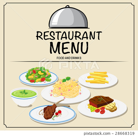 Restaurant menu with different food 28668319