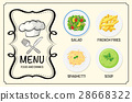 Different dishes on restaurant menu 28668322
