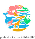 Icon in the form of animal silhouettes 28669887