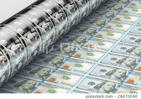 Printing US dollar banknotes, 3D rendering 28670090