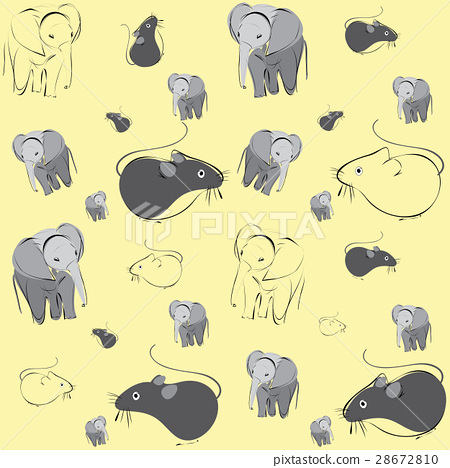 pattern with mice and elephants 28672810
