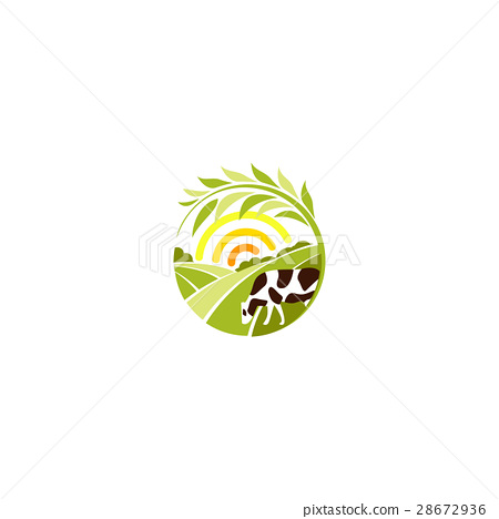 Isolated abstract round shape rural landscape with 28672936