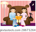 A girl reading a book accompanied by her parents 28673264