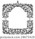 vintage frame with royal crown among floral motif 28673426