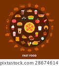 Fast Food Menu Circle Composition Poster 28674614