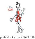 Vector cute fashionable girl 28674736