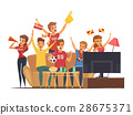 Sport Fans Watching Tv Composition 28675371
