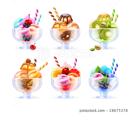 Sherbet Icecream Glass Set 28675378