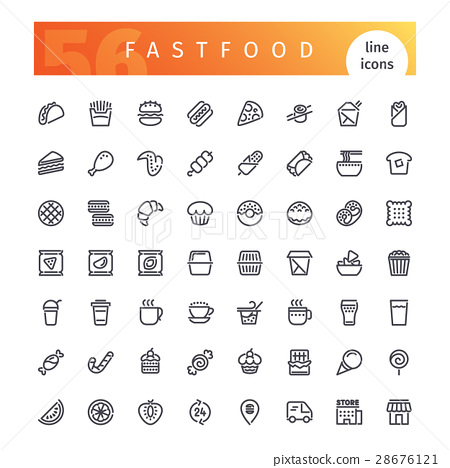 Fastfood Line Icons Set 28676121