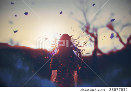 woman looking the sunrise 28677652