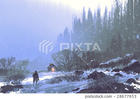 snow storm and a man walking to the wooden house 28677653