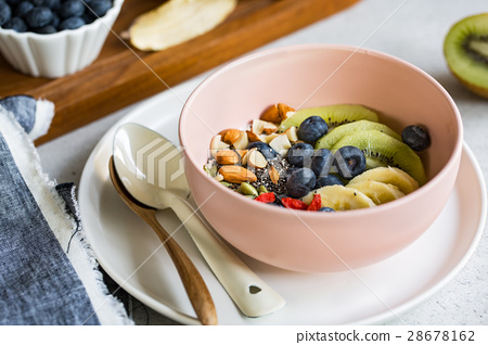 Varieties of fruits and nuts on Greek yogurt 28678162