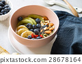Varieties of fruits and nuts on Greek yogurt 28678164
