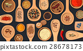 Wooden spoons and bowls with  culinary spices 28678173