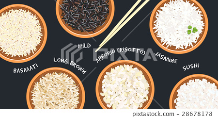 Different types of rice in ceramic bowls.  28678178