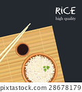 Rice in ceramic bowl with chopsticks, bamboo mat 28678179