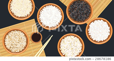 Different types of rice in bowls. mat, sause 28678186