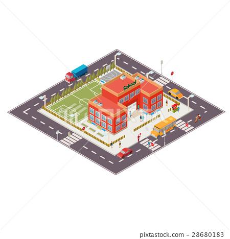 Vector isometric illustration of school building 28680183