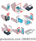 Isometric icons of mobile phones, laptop 28680349