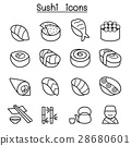 Sushi & Japanese food icon set in thin line style 28680601