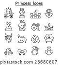 Princess icon set in thin line style 28680607