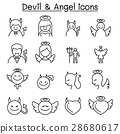 Devil & Angel icon set in thin line style 28680617