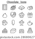 Chocolate icon set in thin line style 28680627