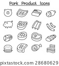 Pig & Pork Product icon set in thin line style 28680629