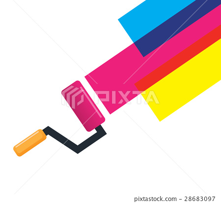 Roller Brush and Cmyk Color 28683097