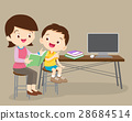 cute boy and mother reading book together 28684514