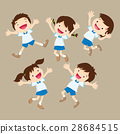 student boy and girl jumping happy various actions 28684515