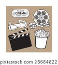 Cinema objects popcorn bucket, film roll, ticket 28684822
