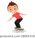 男孩 卡通 溜冰板 28685358
