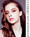 Young beautiful fashion model wearing black dress 28686352