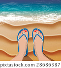 Female legs in flip flops on sand beach and sea 28686387