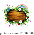 wooden board on a lawn 28687886