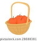 Basket with apples icon, cartoon style 28688381