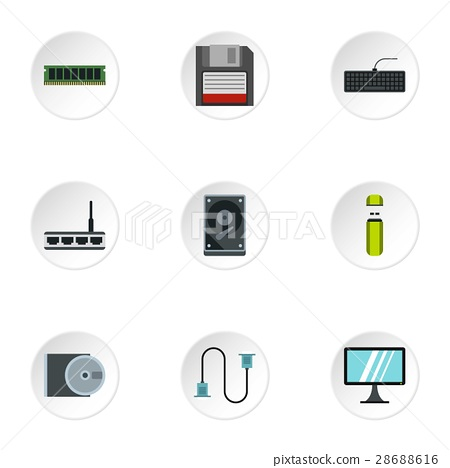 Computer repair icons set, flat style 28688616