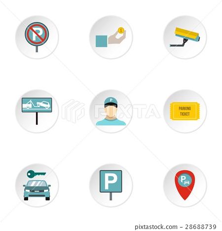 Parking station icons set, flat style 28688739