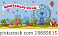 Amusement park landscape concept, cartoon style 28689815