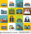 Industrial building factory icons set, flat style 28689865