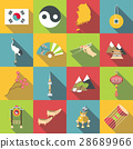South Korea travel icons set, flat style 28689966