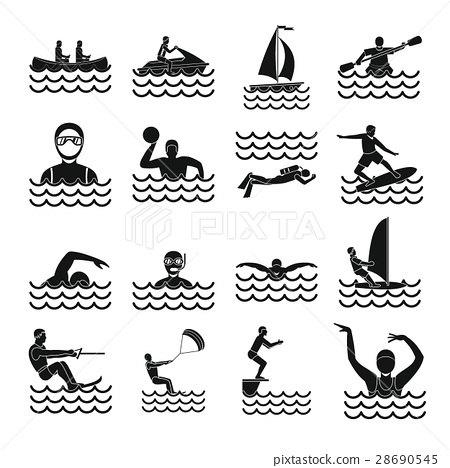 Water sport icons set, simple style 28690545