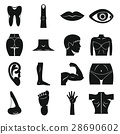 Body parts icons set, simple style 28690602