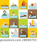 Water sport icons set, flat style 28690703