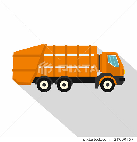 Garbage truck icon, flat style 28690757