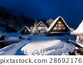 shirakawa-go, shirakawago, having a steep thatched rafter roof 28692176